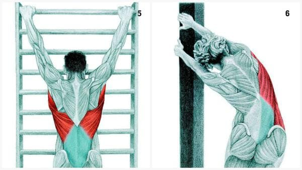 Вис на шведска стена и разтягане на страничната част на тялото