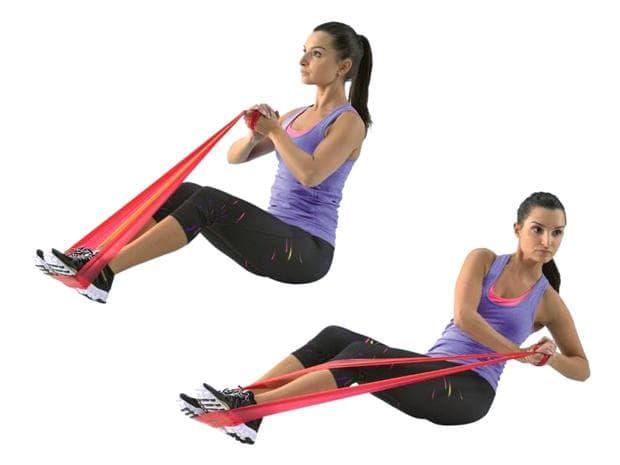 Упражнение с ластик за корема