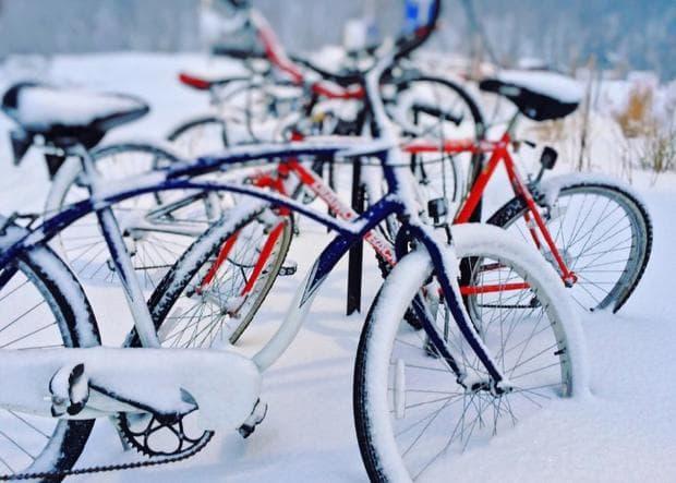заснежено колело