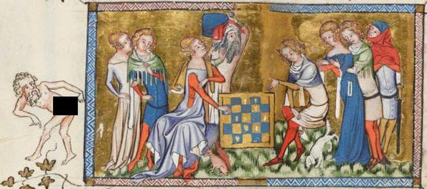 Човек, докосващ ануса си по време на кралска партия шах