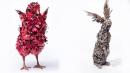 10 скулптури на бозайници и птици, създадени от фино ковани метални цветя и листа