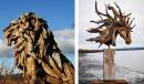 Художник създава скулптури от сухи парчета дърво