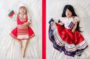 Корейско бебе с народни носии от цял свят