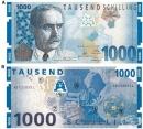 Австрийска банкнота от 1000 шилинга с лика на Карл Ландщайнер
