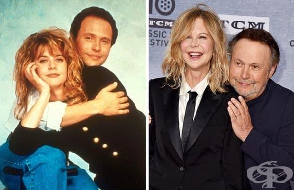 """""""Когато Хари срещна Сали"""", 1989 и 2019 г. Премиерата на филма се състоя преди 30 г. На 11 април 71-годишният Били Кристъл и 57-годишната Мег Райън се появиха заедно на галавечерята за годишнината от филма и на откриването на Turner Classic Movies."""