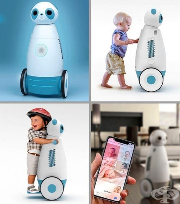 Робот, помощник на деца. Това устройство може да улови плача на детето и да съобщи на родителите. Може да пусне музика или приказка за успокоение. Пречиства въздуха, контролира температурата в стаята, прави снимки, самозарежда се и е чудесна проходилка.