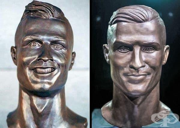 Скулпторът Емануел Сантос реши да направи бюст на Кристиано Роналдо, който предизвика много шеги в интернет. Сантос повтори творбата си. Този път бюстът определено се доближава повече до оригинала.