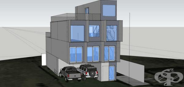 На първо място дизайнерът Уил Бро оформя проекта – къща на четири етажа с тераса и място за паркиране. Проучвайки особеностите при изграждането на такива конструкции, той подготвя триизмерна скица.