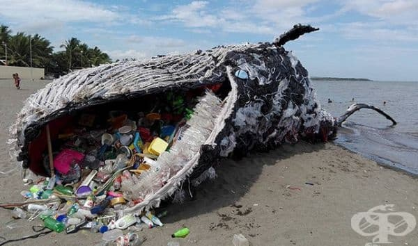 Създадената от организация Грийнпийс инсталация с мъртъв кит ни показва визуално как пластмасата влияе на морския свят.