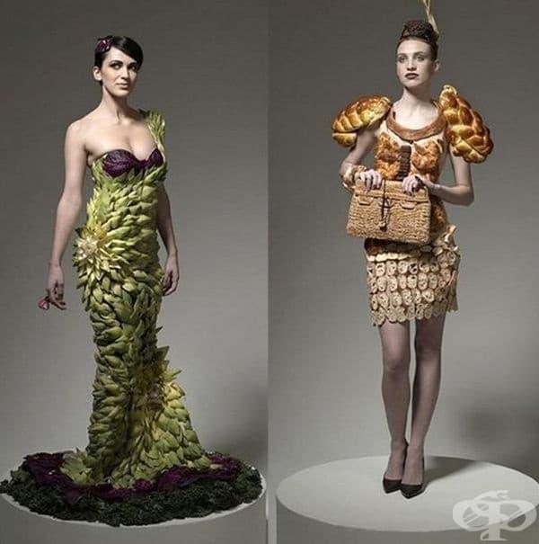"""Оригинална рокля от артишок на дизайнерите Даниел Фийлд и Уесли Нолт за проекта """"Runway"""". На втората снимка е представено облекло от тестени изделия, съобразено с личните гастрономически предпочитания на моделите."""