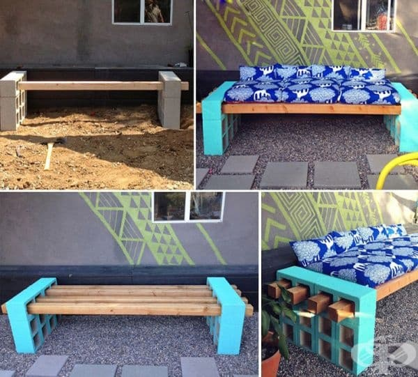 Външна пейка, изработена от дървени греди.