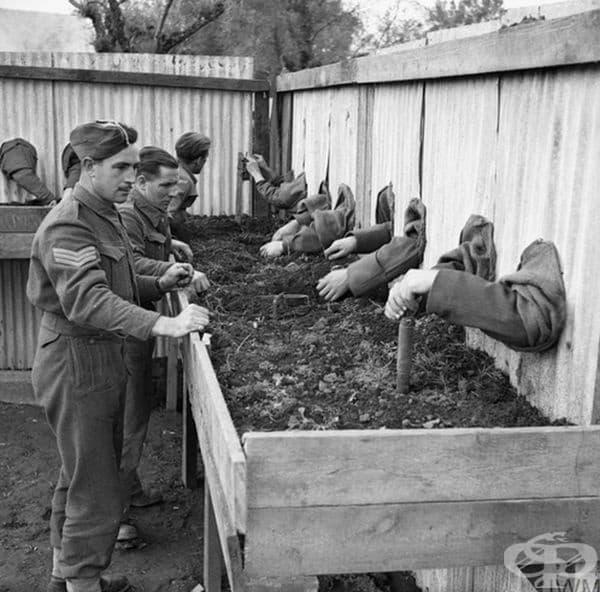 Обучение на британски сапьори по обезвреждане на мини на сляпо, за да могат да работят в тъмнина през 1943 г.
