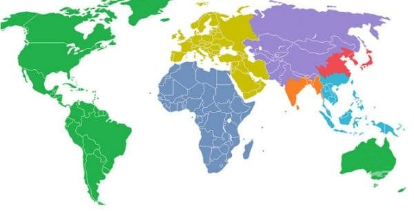 Светът е разделен на 7 региона, всеки с население от 1 милиард.