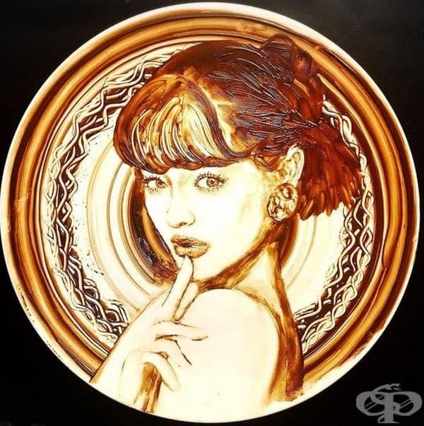 Японско момиче е пристрастено към шоколада, но не да до яде, а да рисува с него