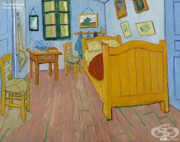 """""""Спалнята"""" на Винсент Ван Гог. Картината изобразява стаята на Ван Гог във френския град Арл. Самият художник описва тази картина като пресъздаване на мир и спокойствие."""