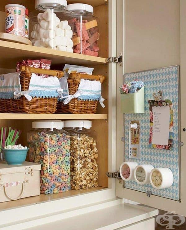 Използвайте вътрешната страна от вратичките на шкафовете.