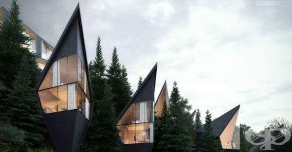 Формата на къщите е заимствана от вида на околните смърчове и дървета. Самите къщи са изработени от местно дърво, на две нива, а размерите им варират от 35 до 45 кв. м.