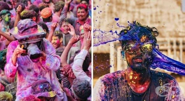 Холи, Индия. Празник, който отбелязва пристигането на пролетта. Известен е още като фестивал на цветовете, тъй като хората хвърлят цветни прахове един върху друг. Всеки цвят носи свой собствен смисъл.