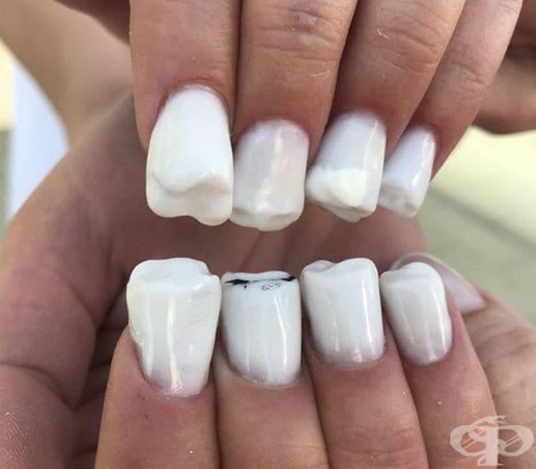 Ето така изглеждат ноктите под формата на зъби.