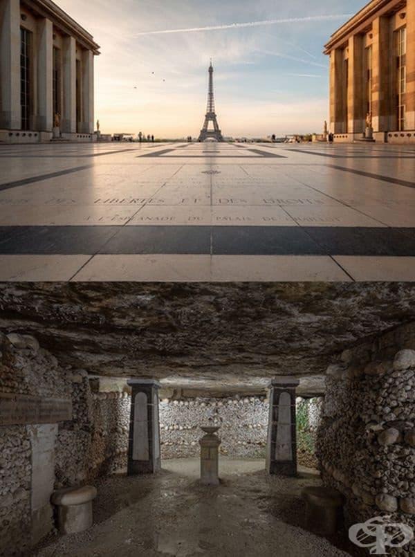 """Франция: Айфеловата кула се намира над Парижки катакомби. Това е мрежа от тунели, канали, стари пещери, разположени на 20 в. под Париж. Там са запасени останките на повече от 6 милиона души. Известни са също като """"Империята на мъртвите""""."""
