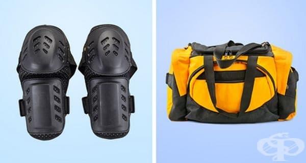 Спортна екипировка. Спортните аксесоари абсорбират потта по време на тренировка и редно да се почистят. Поставете ги в мрежеста торбичка или калъфка за възглавница, използвайте мек почистващ препарат и изберете деликатния режим на пране.