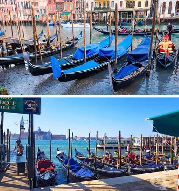 Ниско ниво на водата в каналите на Венеция поради липса на дъжд през януари 2018 г.