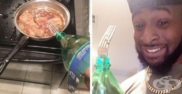 За да се защитиш от пръските на горещото олио.
