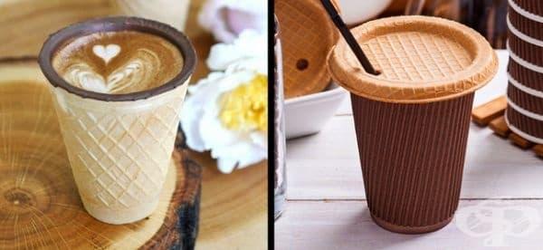 Кафе във вафлена чашка. За тези, които не обичат използването на пластмаса.
