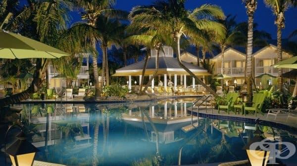 The Inn в Кий Уест, Флорида. Това не е най-луксозният хотел в нашия списък, но неговият басейн сред палмови дървета на открито може да се съревновава с много световни курорти, Нощувката е на цена от $ 312 на ден.