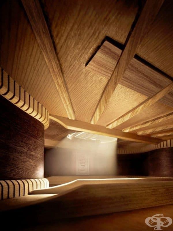 Вътрешността на акустична китара.
