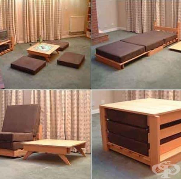 Този дизайн на мебели се състои от няколко единици, които могат да бъдат сглобени по различни начини, за да обслужват различни нужди.