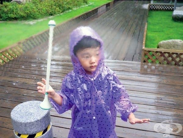 Този невидим чадър създава регулируема въздушна завеса, която ви предпазва от дъжда.