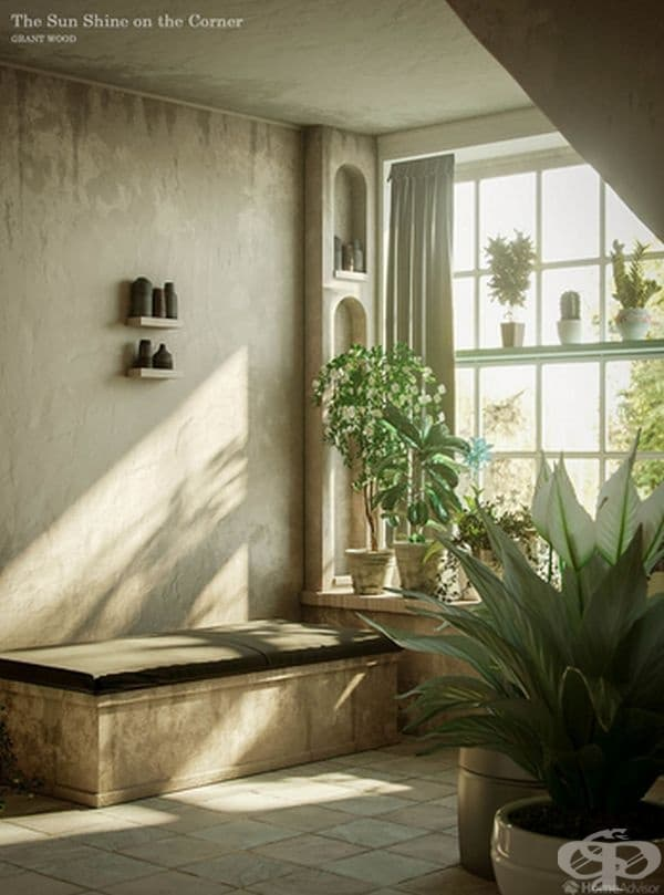 """Настоящата картина има същата селска меланхолия и усещане за спокойствие като """"Американската готика"""". В нея Грант използва само два цвята: бял за цветя, стени, фитинги и осветителни тела и зелен за листата на растенията, който придава един фин стил."""