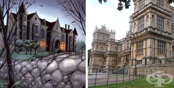 Къщата на Брус Уейн. Брус Уейн Manor в DC комиксите за Батман е вдъхновен от Wollaton Hall във Wollaton, Nottingham, Англия.