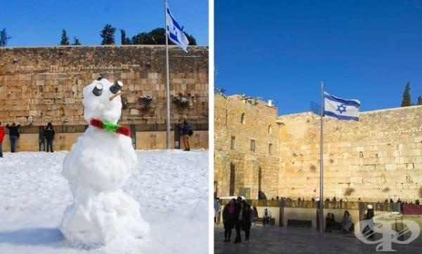 Стената на плача в Йерусалим след най-силния снеговалеж през 2015 г.