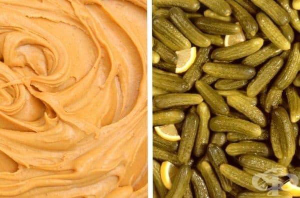Фъстъчено масло и кисели краставички. Направете си сандвич от фъстъчено масло с кисели краставички. Ще ви хареса!