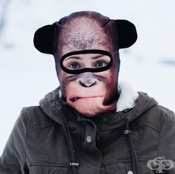 Маска за лице балаклава с шимпанзе.