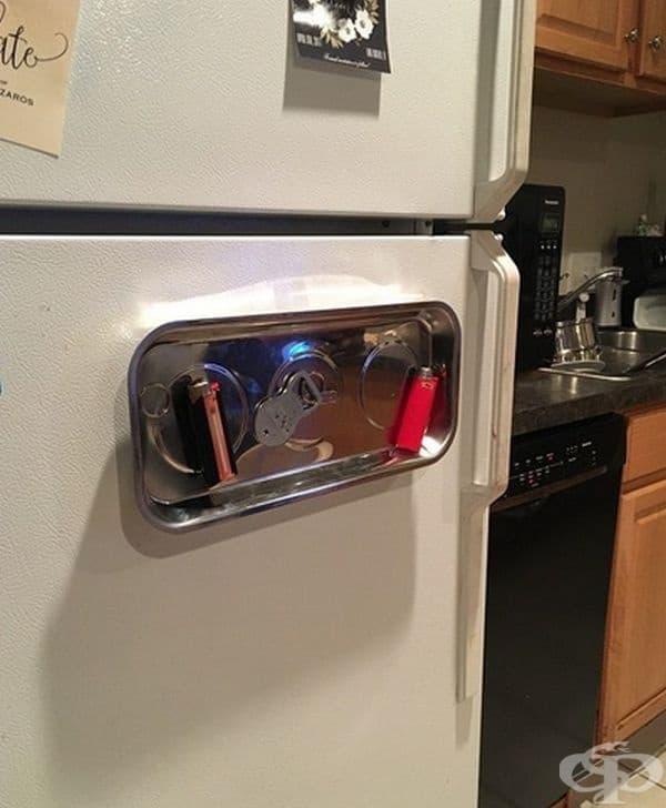 Метален магнитен поднос на хладилника - за да не търсите дълго малки вещи като заплака, отварачка за бутилки и др.