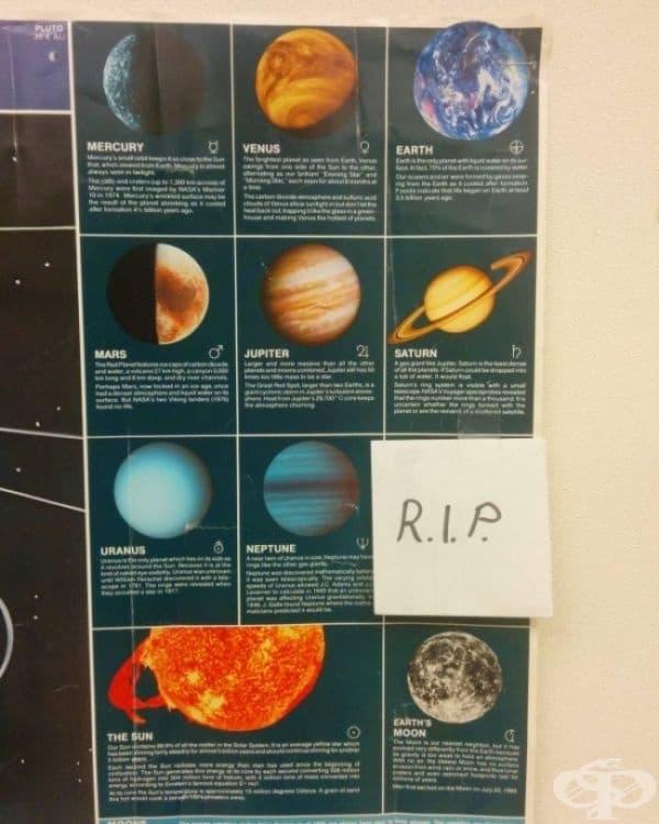 Последната промяна в учебната програма за часовете по астрономия.