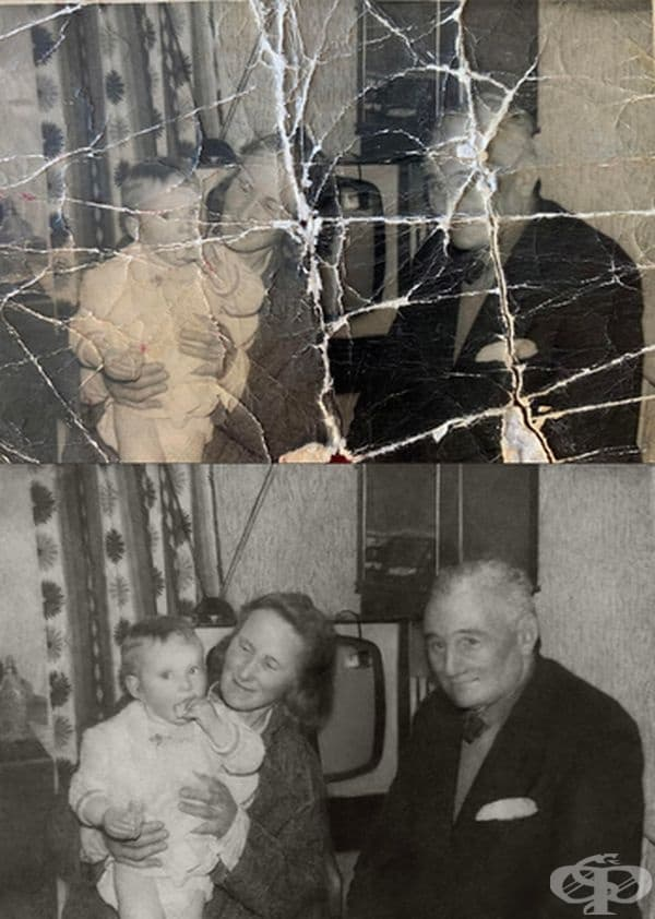 Само една снимка на майката като дете и на нейните баба и дядо.