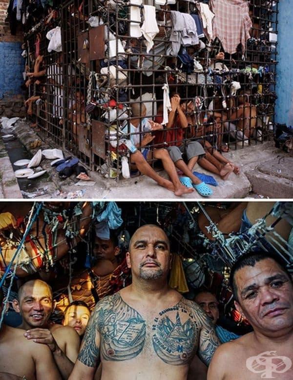 Затвор Пенас Сиудад Бариос, Сан Мигел, Ел Салвадор. Килиите са 4 м. ширина на 5 метра височина и обикновено са пълни с около 30 души. Използват дрехите си, за да си направят хамаци и да спят един над друг.