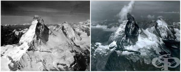 Планината Матерхорн в Алпите, на границата между Швейцария и Италия (август 1960 -   август 2005).