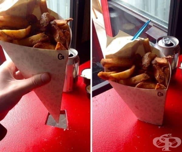 Маса с дупки, която ви позволява да поставите сладолед или пържени картофки с конусовидна опаковка в тях.