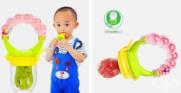 Биберони със захранващ механизъм във формата на свежи плодове или зеленчуци, с които детето ще се наслаждава на здравословни храни от най-ранна възраст.