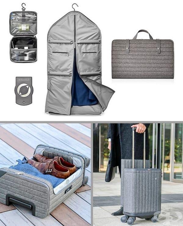 Компактен куфар, създаден от ултралек непромокаем материал, които включва отделения за лаптоп, чадър, тоалетни принадлежности, чехли и дрехи. Има вграден външен акумулатор за две устройства. Удобен за пътува със самолет.