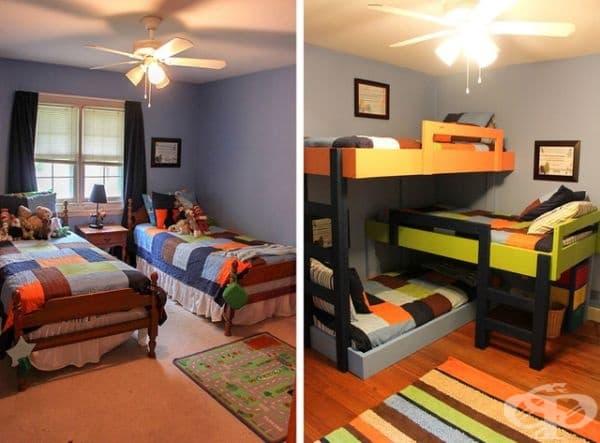 3 в 1. Едно тройно легло вместо 3 отделни легла може да ви помогне да спестите място и да направите стаята по-стилна.
