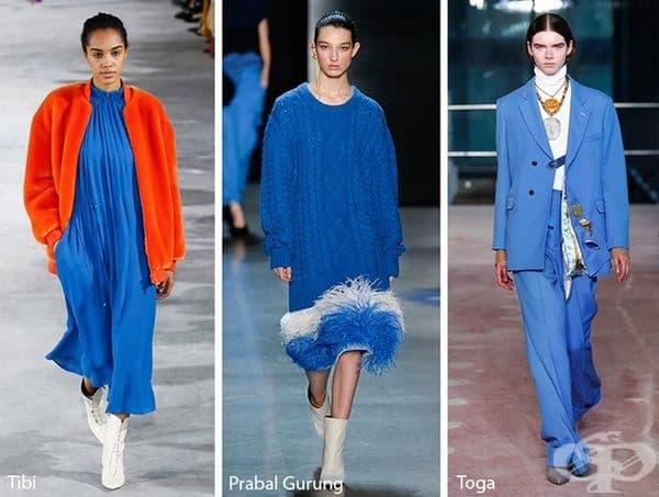 Nebulas Blue. Този цвят е противоположност на това, което бихте очаквали за модна тенденция през студените дни. Дизайнерите комбинират летния цвят с бяло и оранжево.