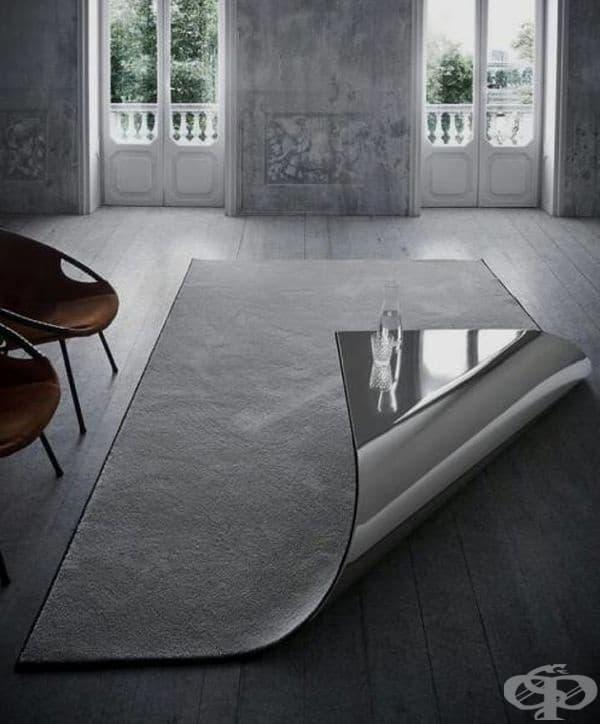 Не може да преценим дали тази маса под формата на килим е добра или лоша идея.