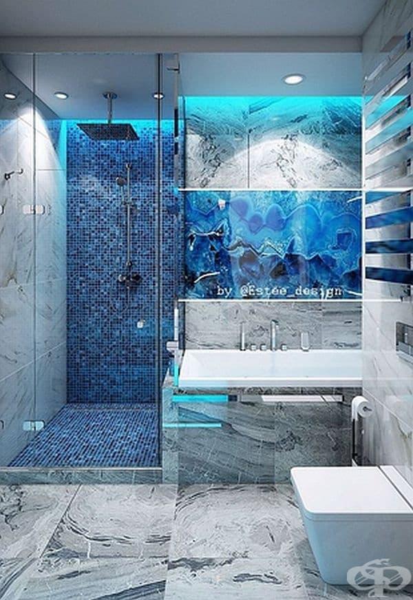 Интериор в синьо създава усещането за море.