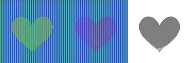 Лявото сърце изглежда оранжево, а дясното - розово, но всъщност и двете са сиви, точно като това вдясно.